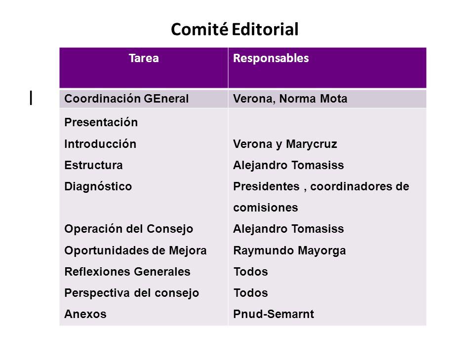 l Comité Editorial Tarea Responsables Coordinación GEneral
