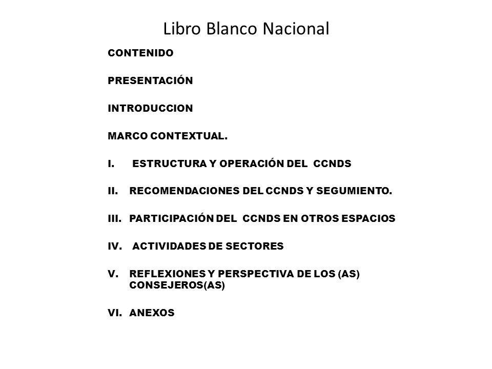 Libro Blanco Nacional CONTENIDO PRESENTACIÓN INTRODUCCION