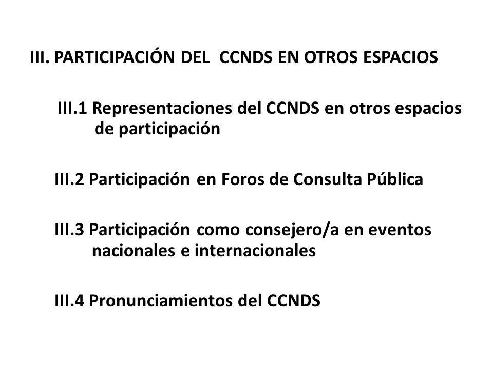 III.1 Representaciones del CCNDS en otros espacios de participación