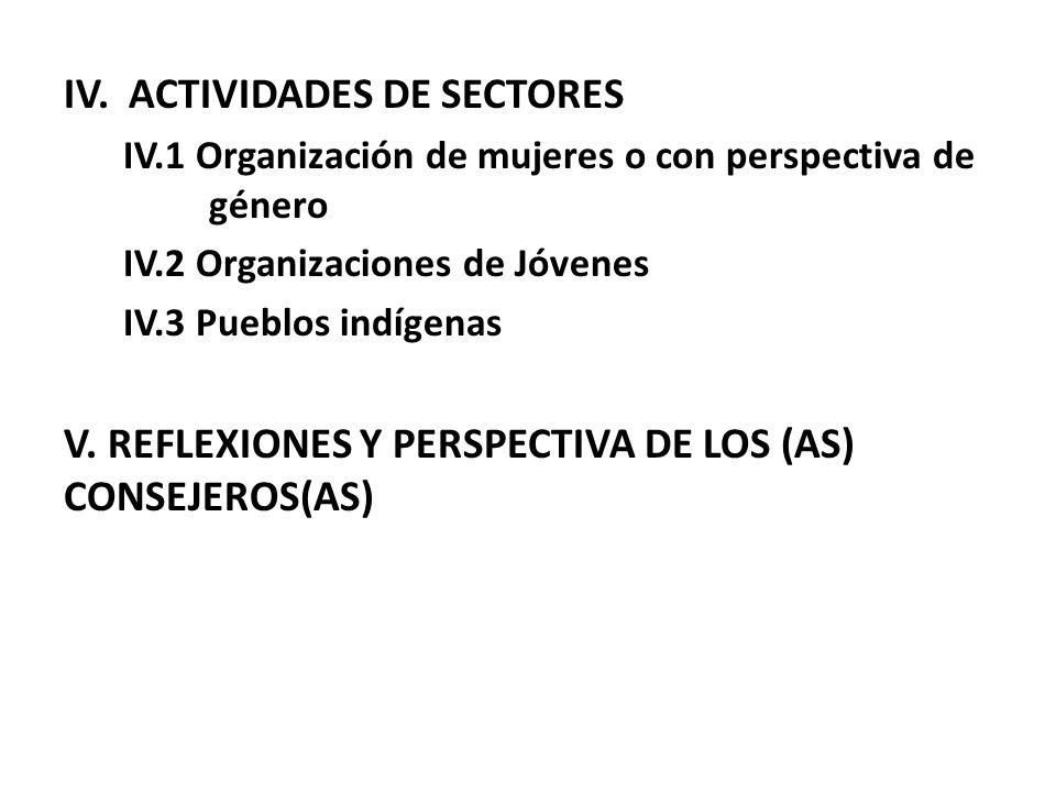 IV. ACTIVIDADES DE SECTORES