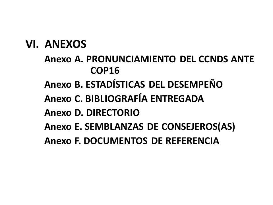VI. ANEXOS Anexo A. PRONUNCIAMIENTO DEL CCNDS ANTE COP16