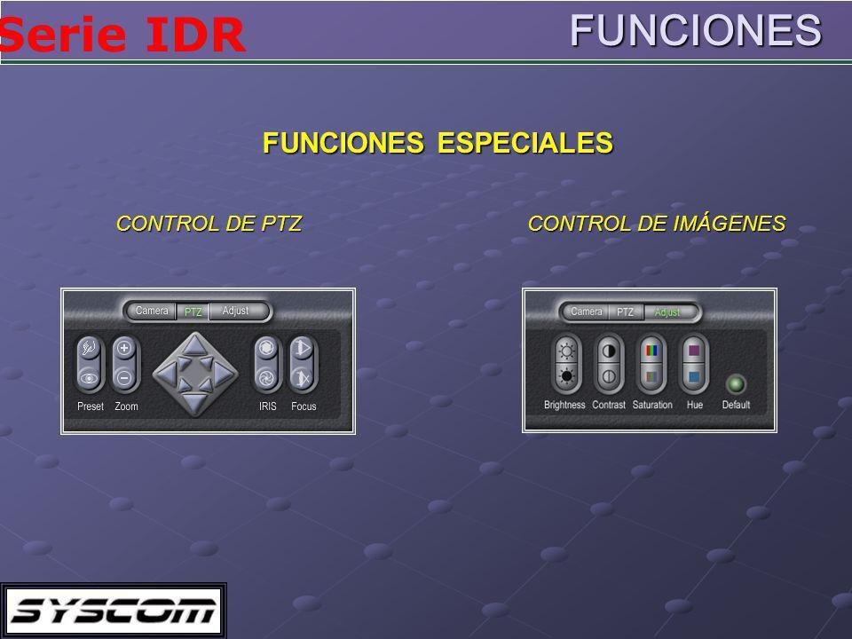 FUNCIONES FUNCIONES ESPECIALES CONTROL DE PTZ CONTROL DE IMÁGENES