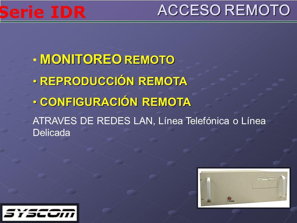 ACCESO REMOTO MONITOREO REMOTO REPRODUCCIÓN REMOTA