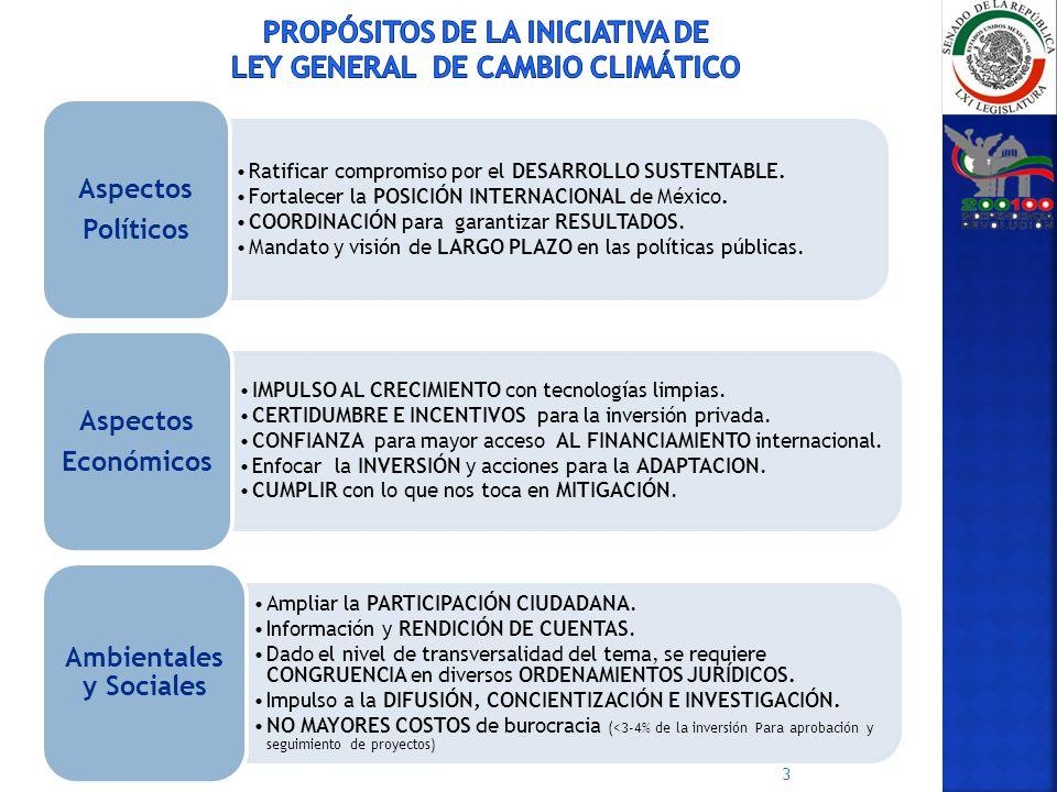 PROPÓSITOS DE LA INICIATIVA DE LEY GENERAL DE CAMBIO CLIMÁTICO