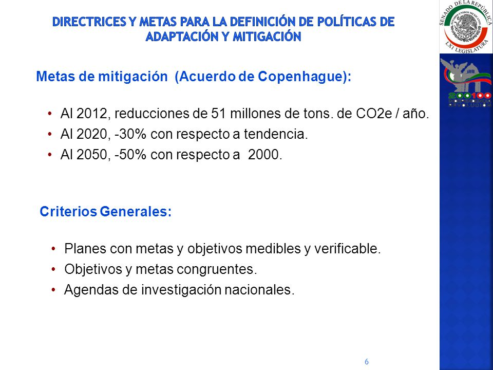 Metas de mitigación (Acuerdo de Copenhague):