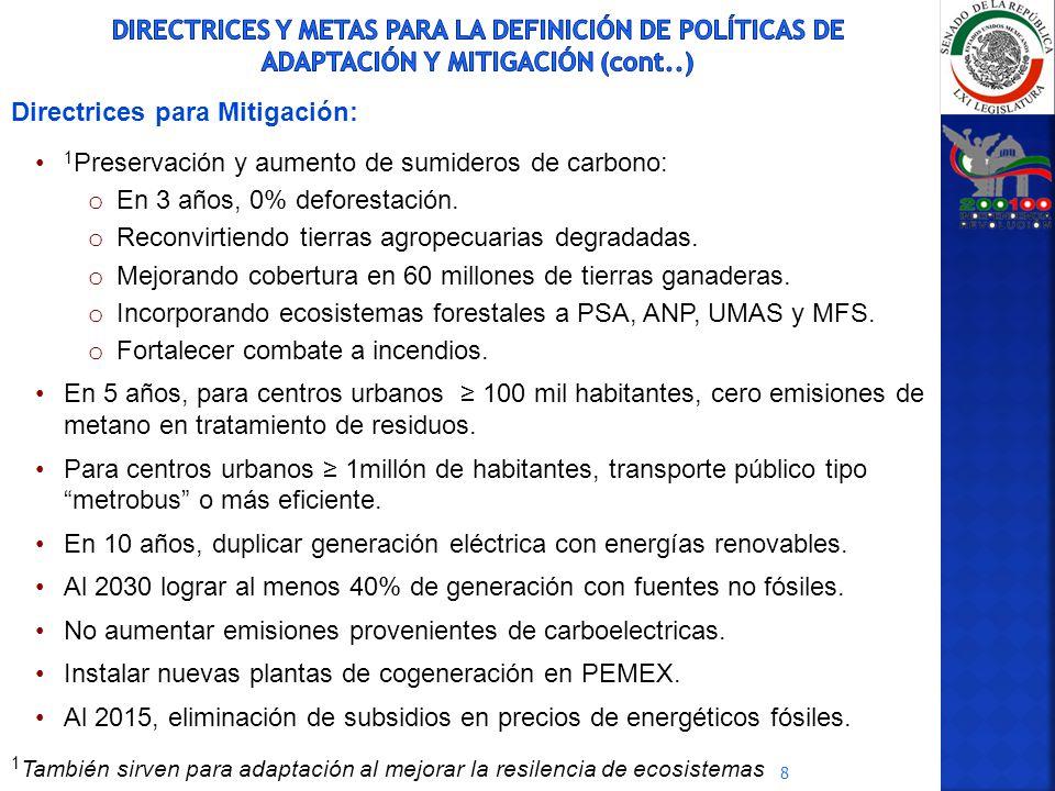 DIRECTRICES Y METAS PARA LA DEFINICIÓN DE POLÍTICAS DE ADAPTACIÓN Y MITIGACIÓN (cont..)
