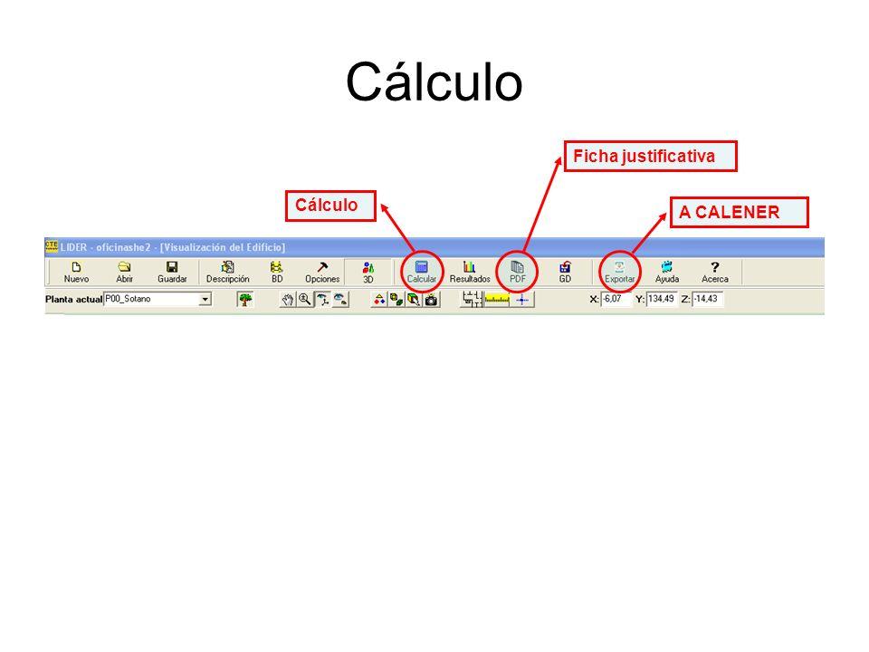 Cálculo Ficha justificativa Cálculo A CALENER