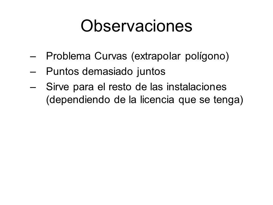 Observaciones Problema Curvas (extrapolar polígono)