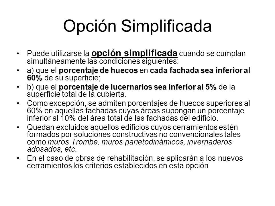 Opción Simplificada Puede utilizarse la opción simplificada cuando se cumplan simultáneamente las condiciones siguientes: