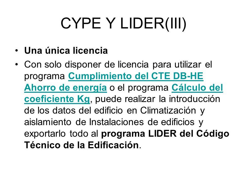 CYPE Y LIDER(III) Una única licencia
