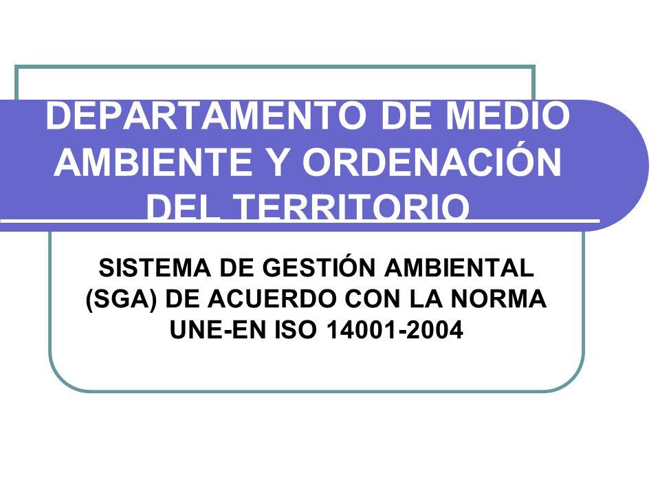 DEPARTAMENTO DE MEDIO AMBIENTE Y ORDENACIÓN DEL TERRITORIO