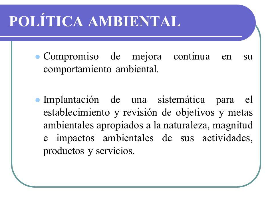 POLÍTICA AMBIENTALCompromiso de mejora continua en su comportamiento ambiental.