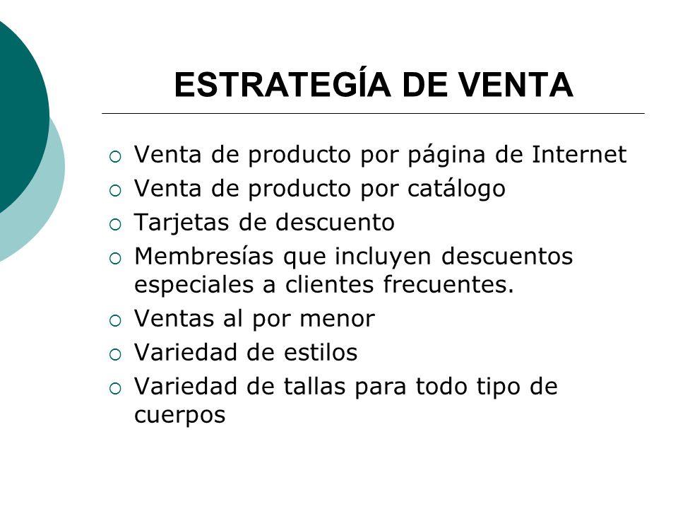 ESTRATEGÍA DE VENTA Venta de producto por página de Internet