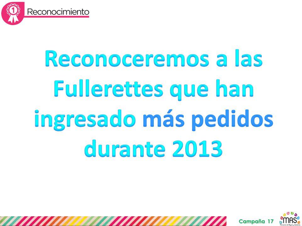 Reconoceremos a las Fullerettes que han ingresado más pedidos durante 2013