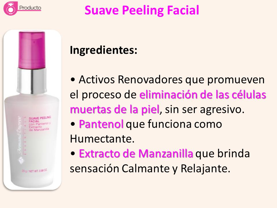 Suave Peeling Facial Ingredientes: