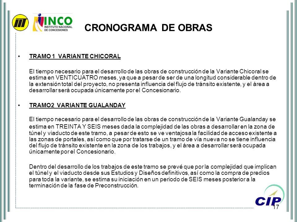CRONOGRAMA DE OBRAS TRAMO 1 VARIANTE CHICORAL.