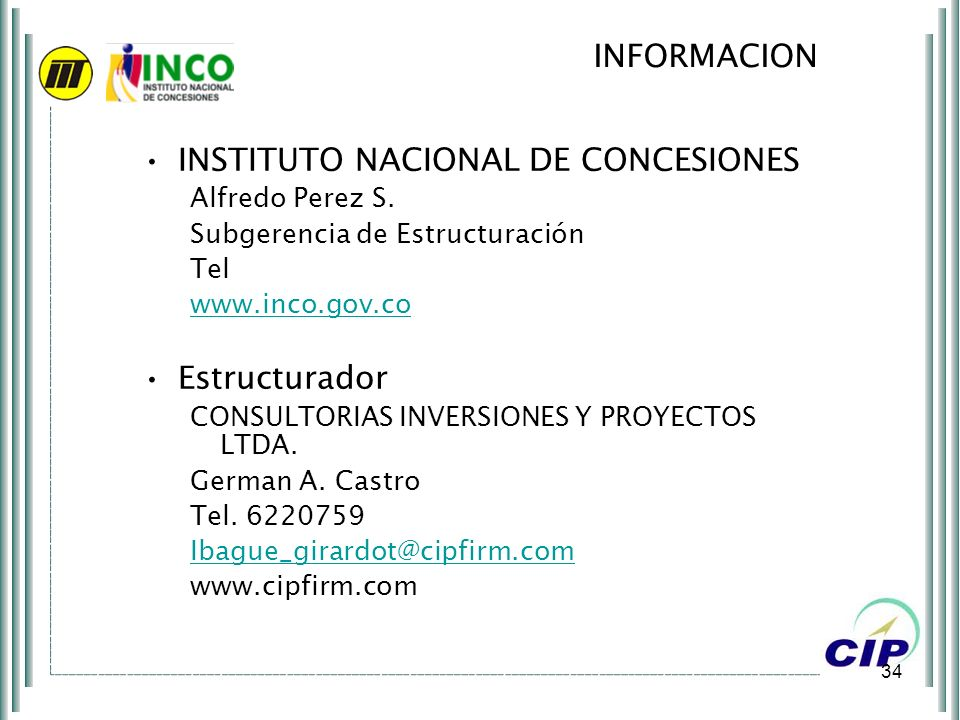 INSTITUTO NACIONAL DE CONCESIONES