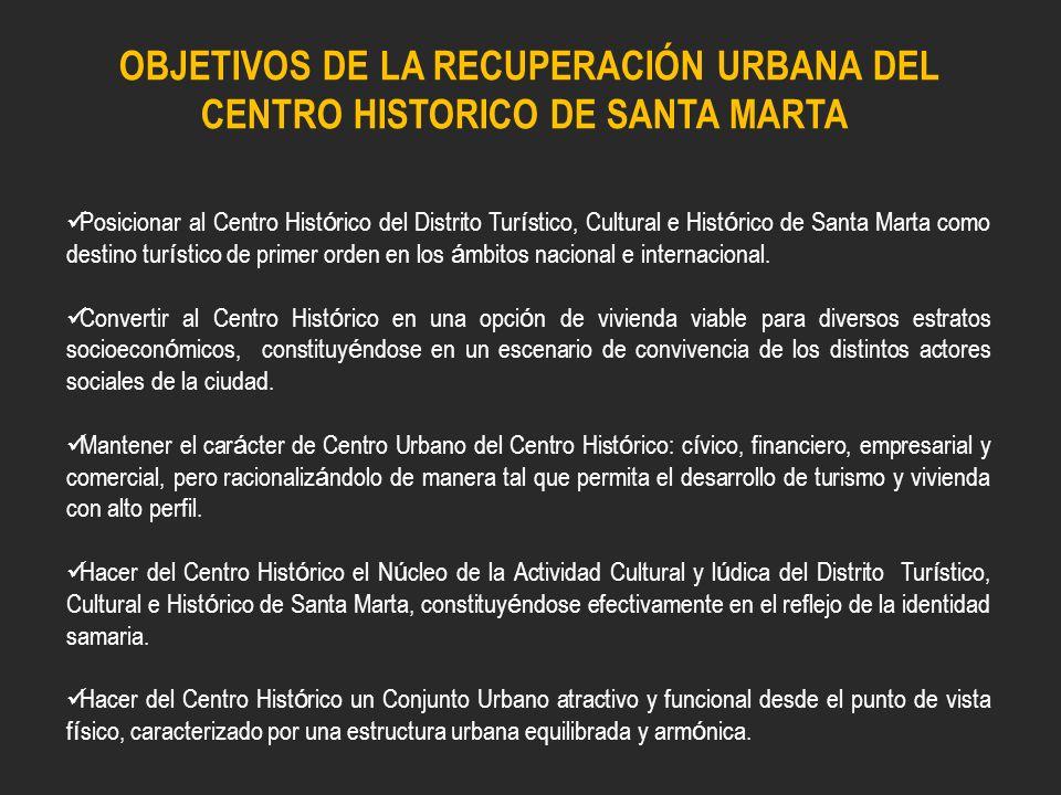 OBJETIVOS DE LA RECUPERACIÓN URBANA DEL CENTRO HISTORICO DE SANTA MARTA