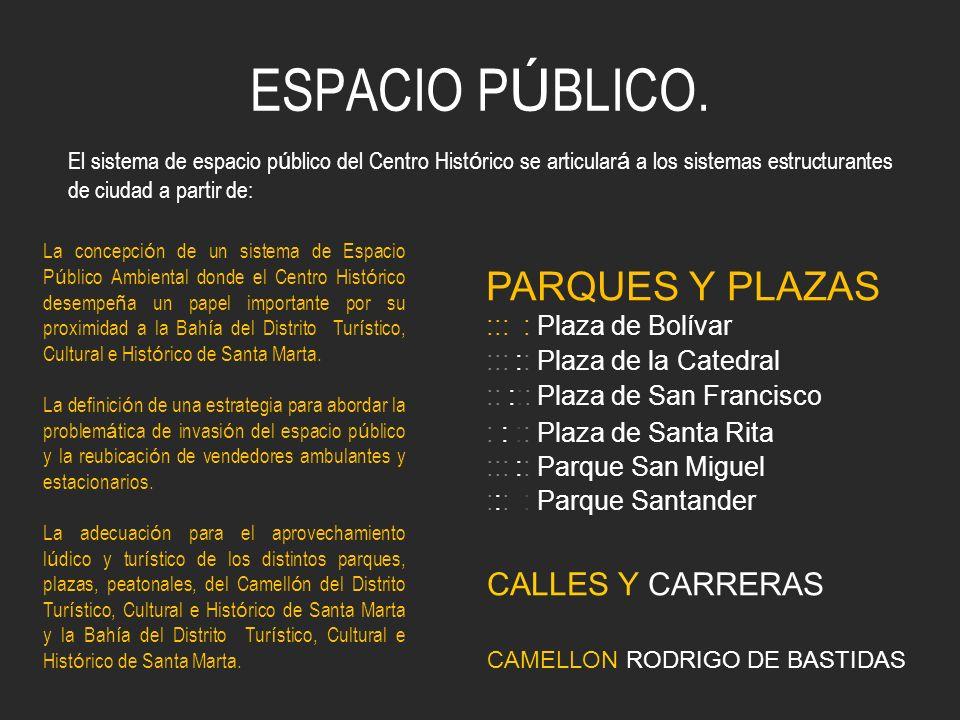 ESPACIO PÚBLICO. PARQUES Y PLAZAS CALLES Y CARRERAS