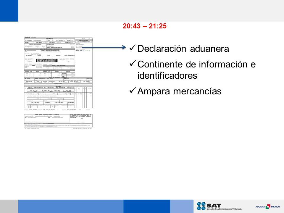 Continente de información e identificadores Ampara mercancías