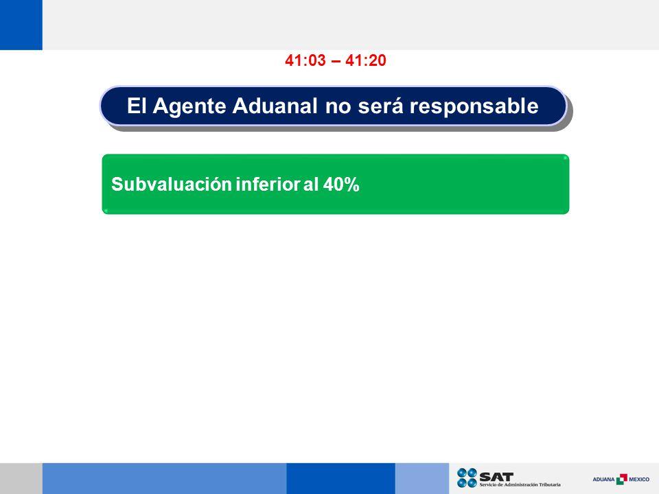 El Agente Aduanal no será responsable