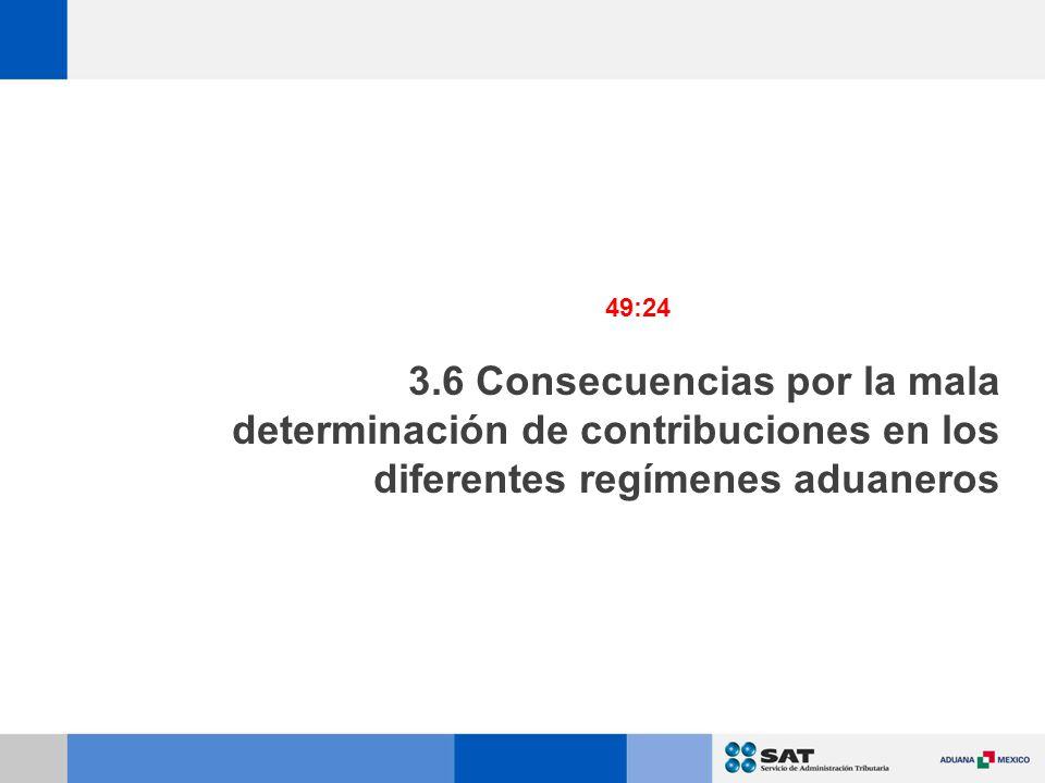 49:24 3.6 Consecuencias por la mala determinación de contribuciones en los diferentes regímenes aduaneros.