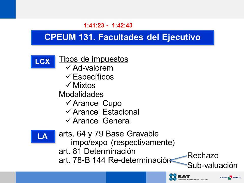 CPEUM 131. Facultades del Ejecutivo