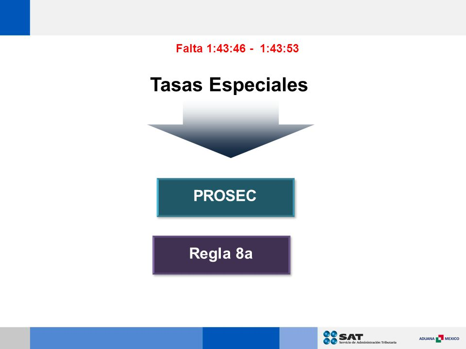 Falta 1:43:46 - 1:43:53 Tasas Especiales PROSEC Regla 8a