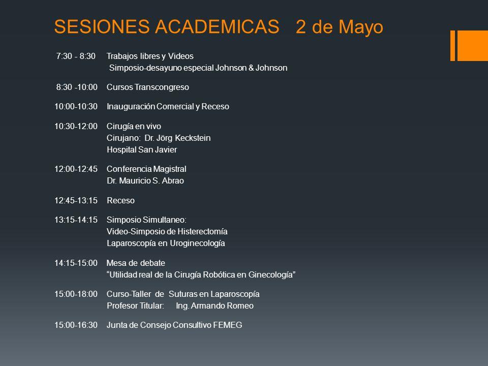 SESIONES ACADEMICAS 2 de Mayo