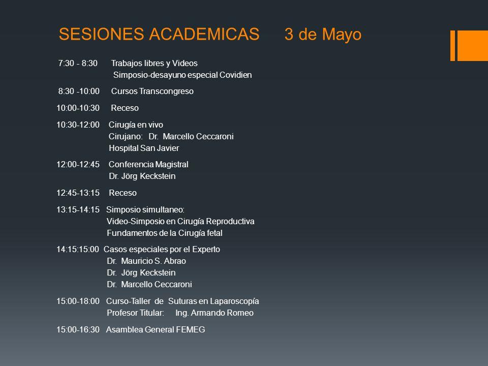 SESIONES ACADEMICAS 3 de Mayo