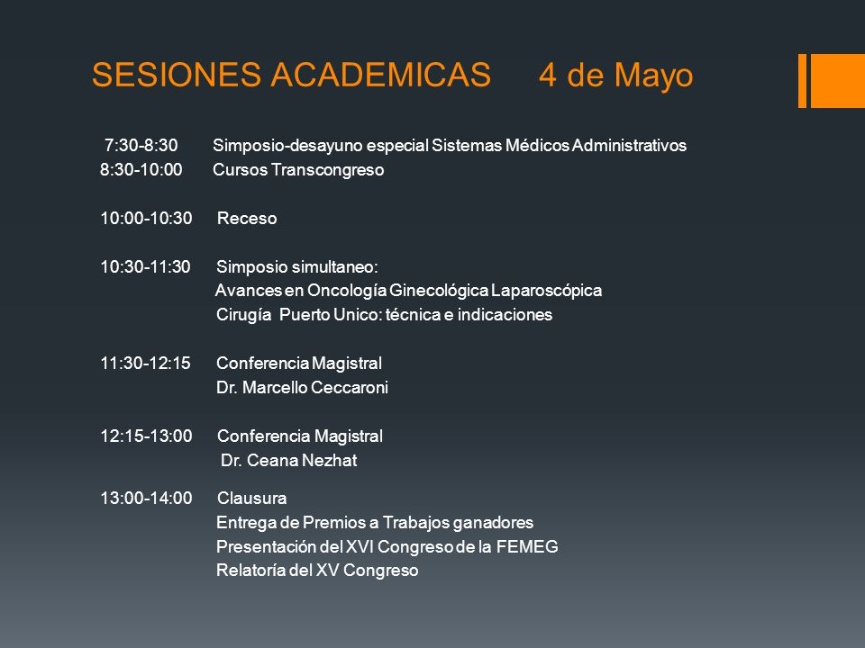 SESIONES ACADEMICAS 4 de Mayo