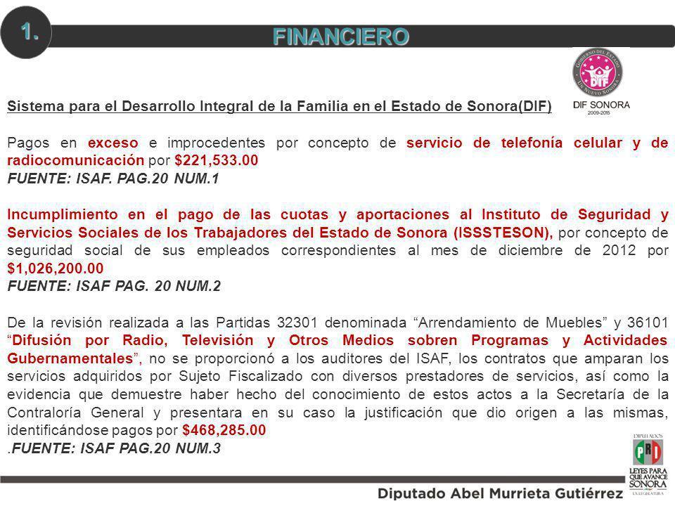 1. FINANCIERO. Sistema para el Desarrollo Integral de la Familia en el Estado de Sonora(DIF)