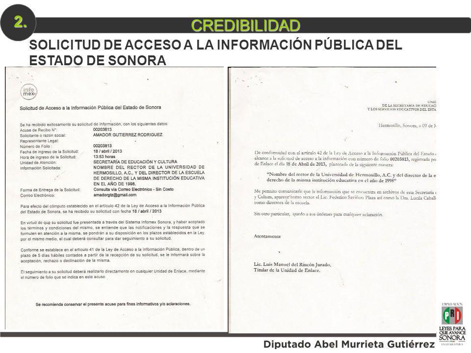 2. CREDIBILIDAD SOLICITUD DE ACCESO A LA INFORMACIÓN PÚBLICA DEL ESTADO DE SONORA