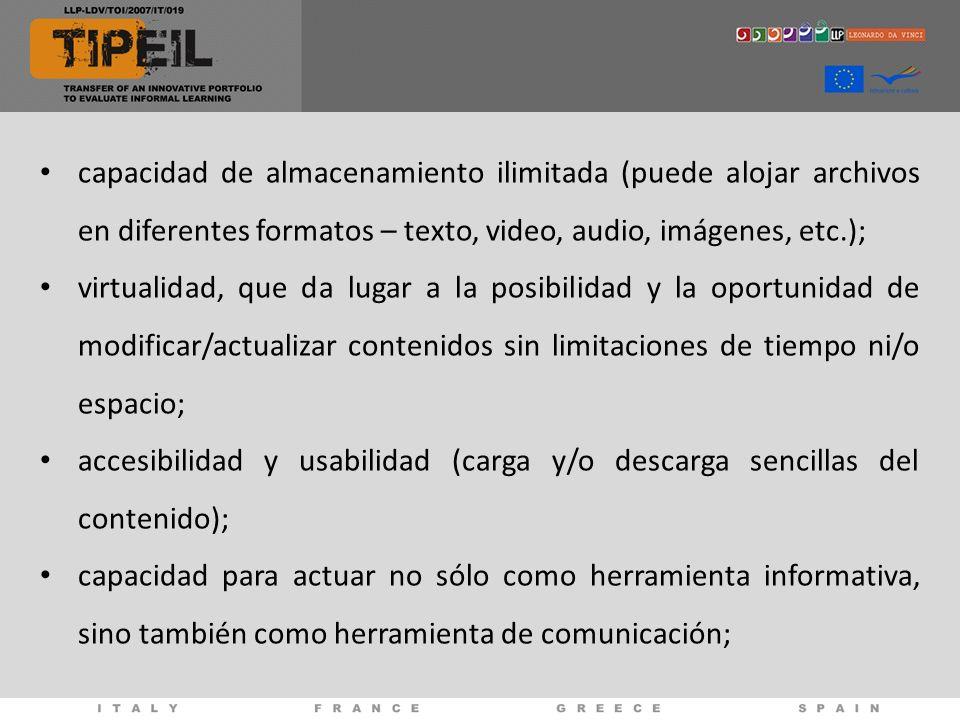 capacidad de almacenamiento ilimitada (puede alojar archivos en diferentes formatos – texto, video, audio, imágenes, etc.);