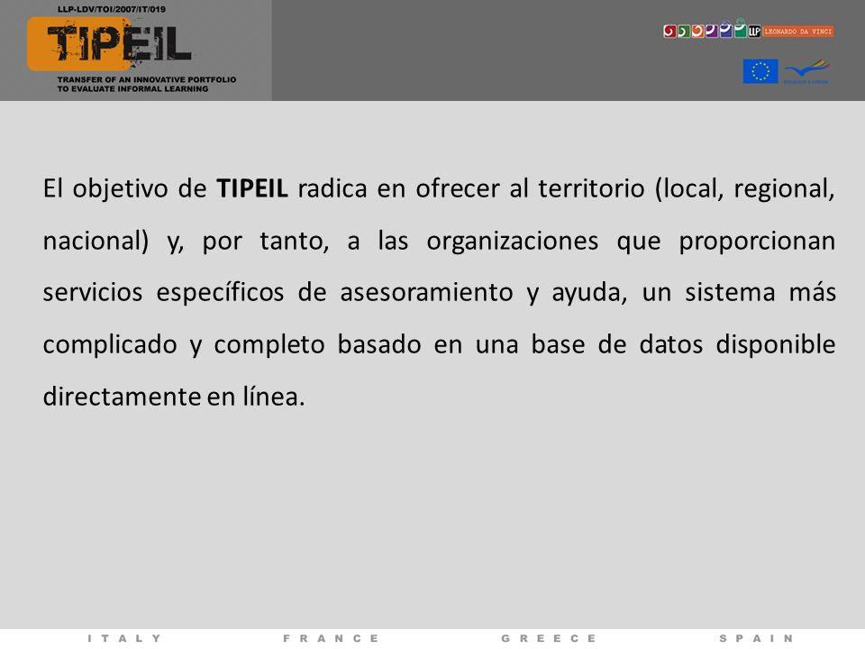 El objetivo de TIPEIL radica en ofrecer al territorio (local, regional, nacional) y, por tanto, a las organizaciones que proporcionan servicios específicos de asesoramiento y ayuda, un sistema más complicado y completo basado en una base de datos disponible directamente en línea.