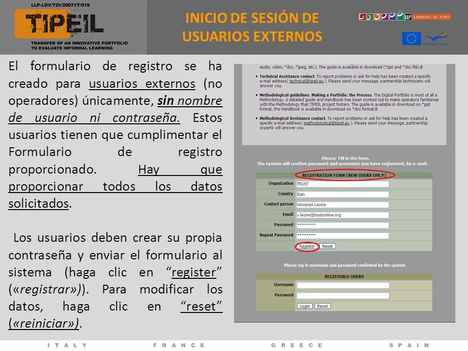 INICIO DE SESIÓN DE USUARIOS EXTERNOS
