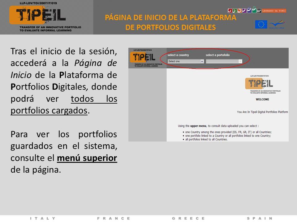 PÁGINA DE INICIO DE LA PLATAFORMA DE PORTFOLIOS DIGITALES