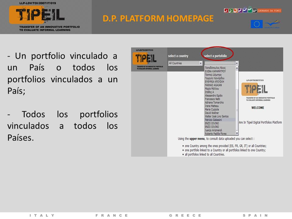 D.P. PLATFORM HOMEPAGE- Un portfolio vinculado a un País o todos los portfolios vinculados a un País;