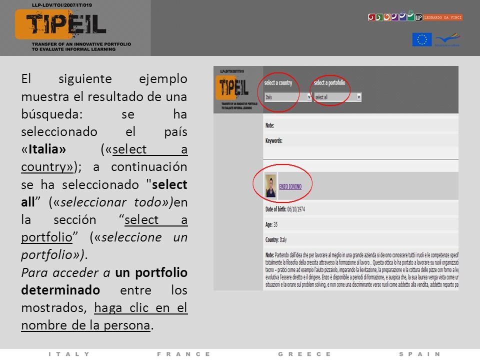 El siguiente ejemplo muestra el resultado de una búsqueda: se ha seleccionado el país «Italia» («select a country»); a continuación se ha seleccionado select all («seleccionar todo»)en la sección select a portfolio («seleccione un portfolio»).