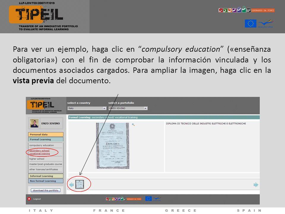 Para ver un ejemplo, haga clic en compulsory education («enseñanza obligatoria») con el fin de comprobar la información vinculada y los documentos asociados cargados.