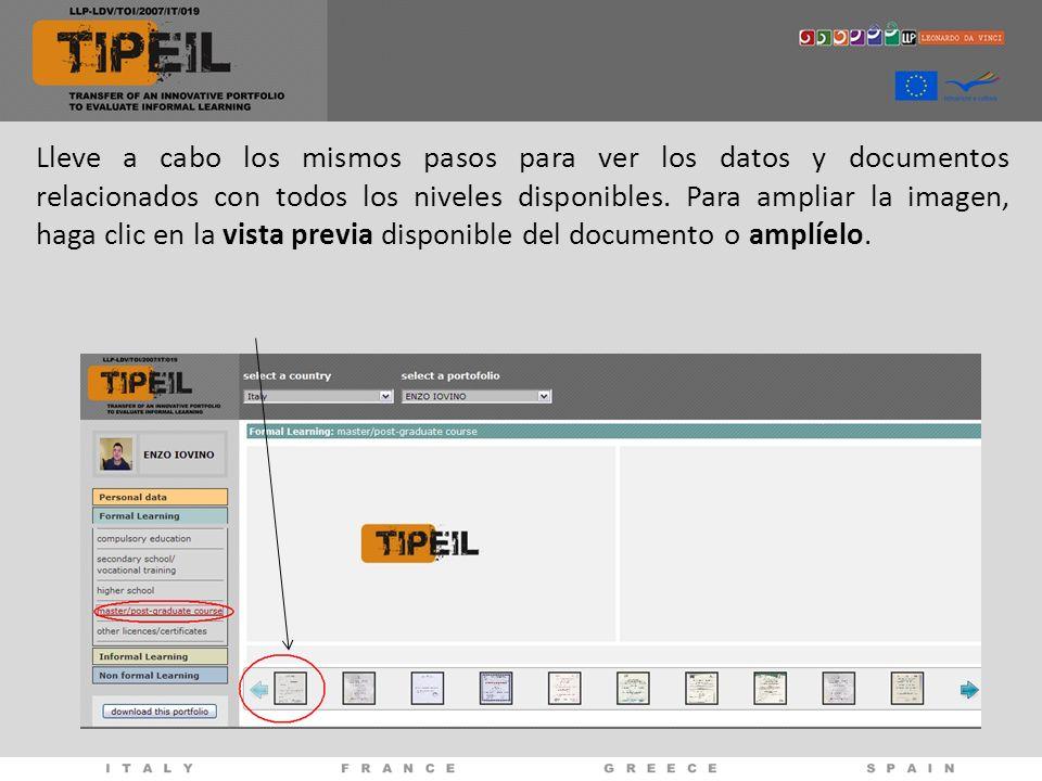 Lleve a cabo los mismos pasos para ver los datos y documentos relacionados con todos los niveles disponibles.