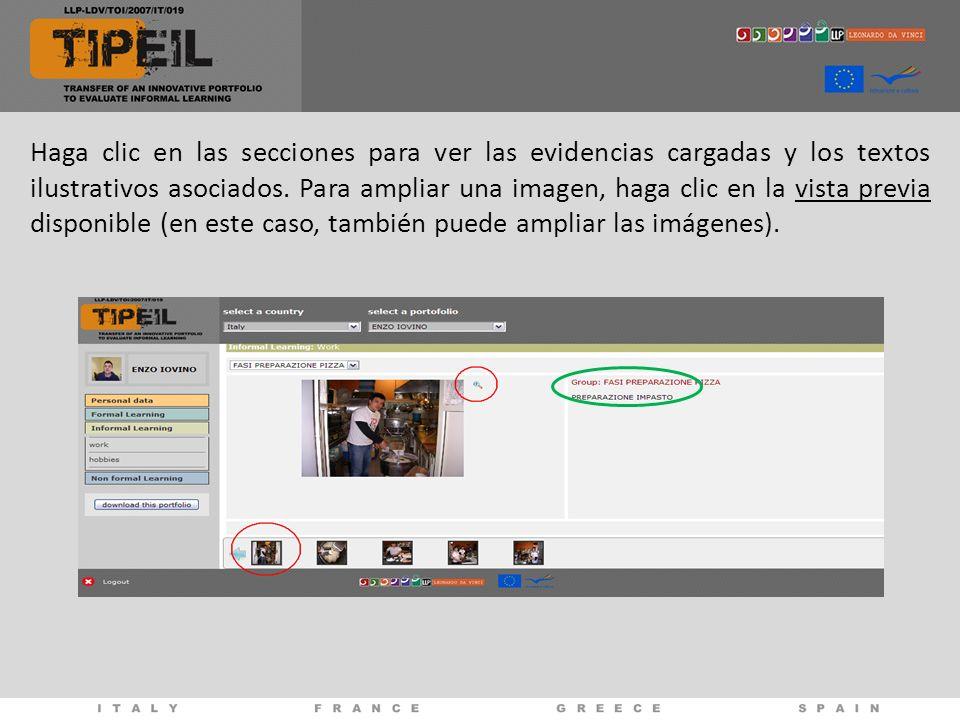 Haga clic en las secciones para ver las evidencias cargadas y los textos ilustrativos asociados.