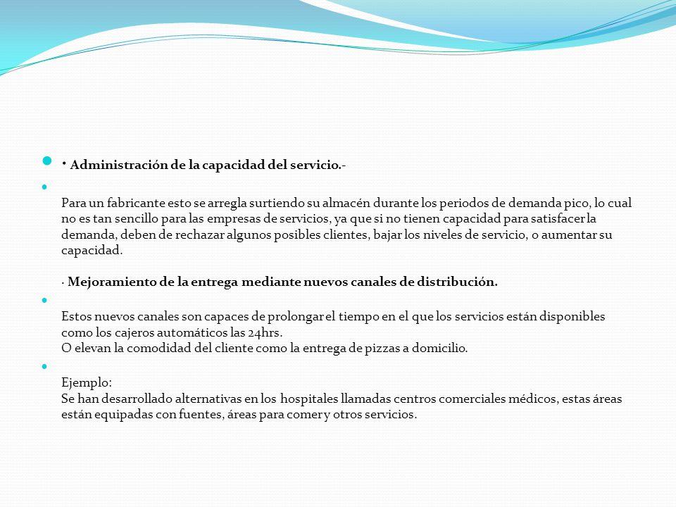 · Administración de la capacidad del servicio.-
