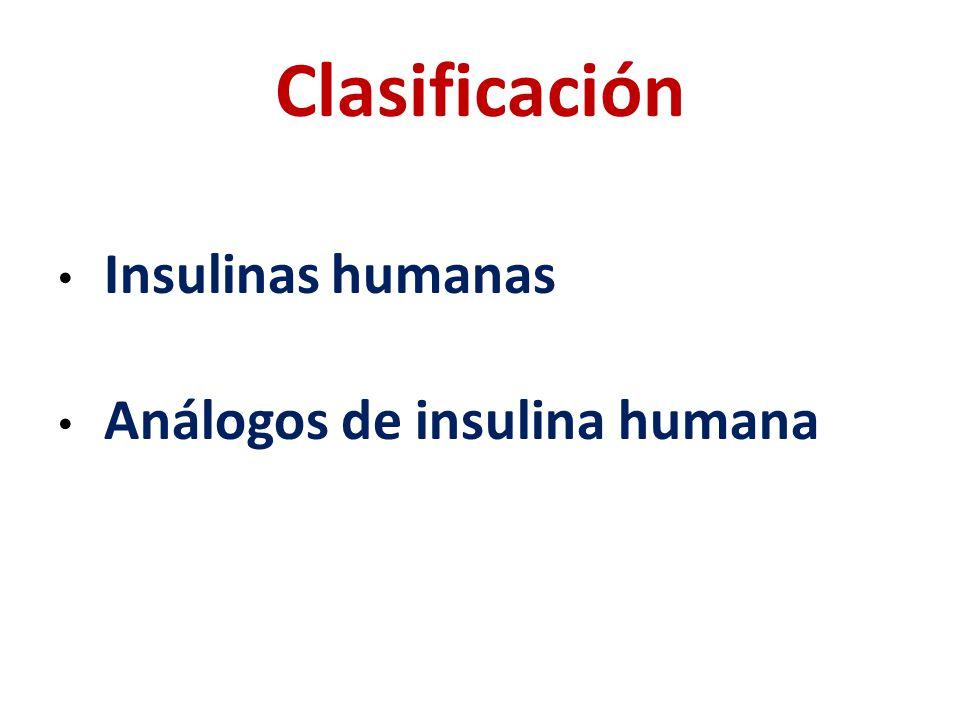 Clasificación Insulinas humanas Análogos de insulina humana