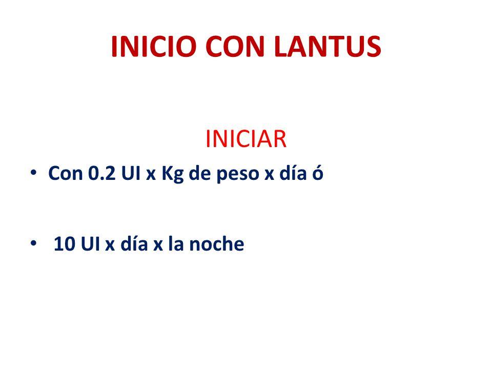 INICIO CON LANTUS INICIAR Con 0.2 UI x Kg de peso x día ó