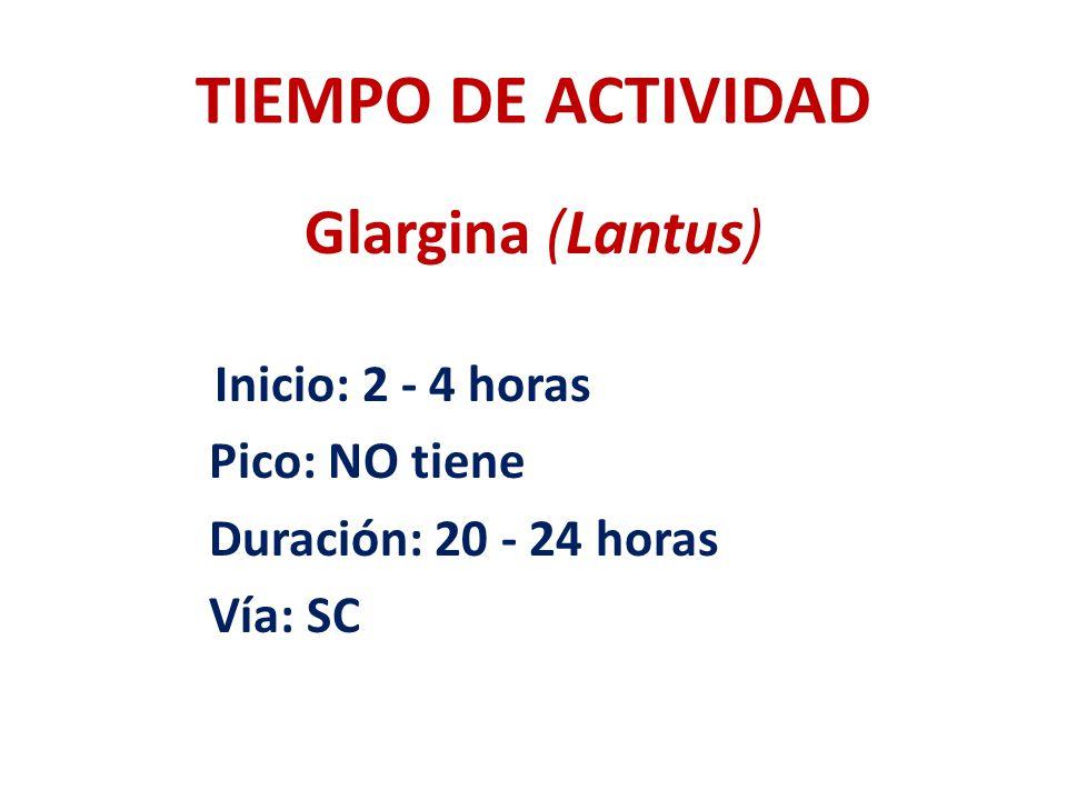 TIEMPO DE ACTIVIDAD Glargina (Lantus) Pico: NO tiene