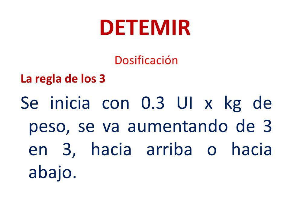 DETEMIR Dosificación La regla de los 3 Se inicia con 0.3 UI x kg de peso, se va aumentando de 3 en 3, hacia arriba o hacia abajo.