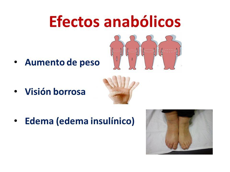 Efectos anabólicos Aumento de peso Visión borrosa