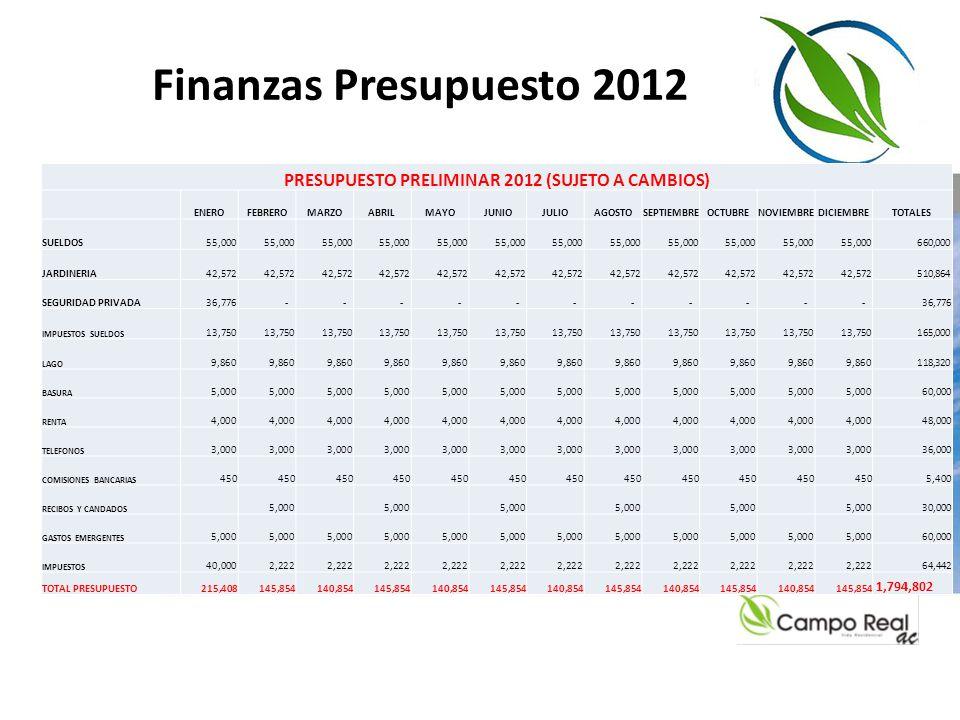 PRESUPUESTO PRELIMINAR 2012 (SUJETO A CAMBIOS)