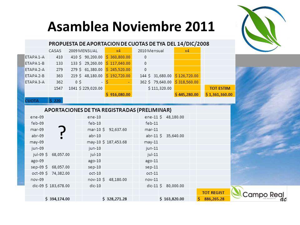 Asamblea Noviembre 2011 PROPUESTA DE APORTACION DE CUOTAS DE TYA DEL 14/DIC/2008. CASAS. 2009.